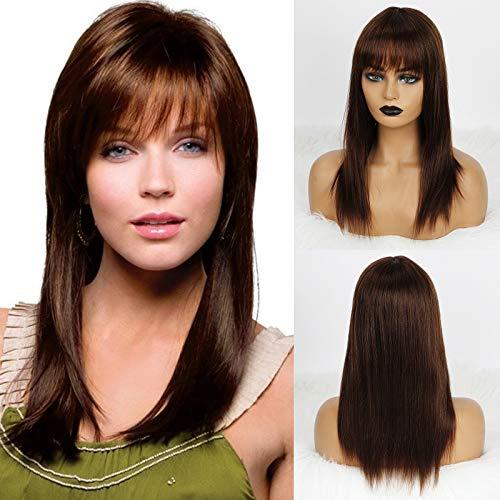 Emmor Marrone Parrucche di capelli umani per donna Parrucca a strati in fibra sintetica sana mista con parte laterale, uso quotidiano naturale