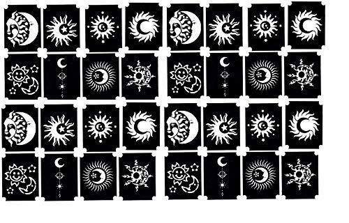 Stencil per tatuaggi glitter henné Henna glitter tattoo stencils (Stencil glitter per tatuaggio sole e luna Sun and)