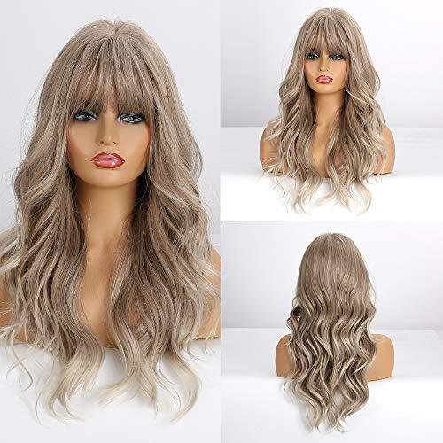 Esmee Parrucca Bionda Miscelato grigio chiaro da 24 pollici,parrucca sintetica resistente al calore a ricci lunghi per donna(con frangia)