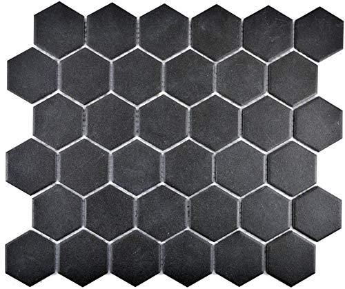 Piastrelle a mosaico in ceramica Hexagon nero non smaltata MOS11B-0304-R10