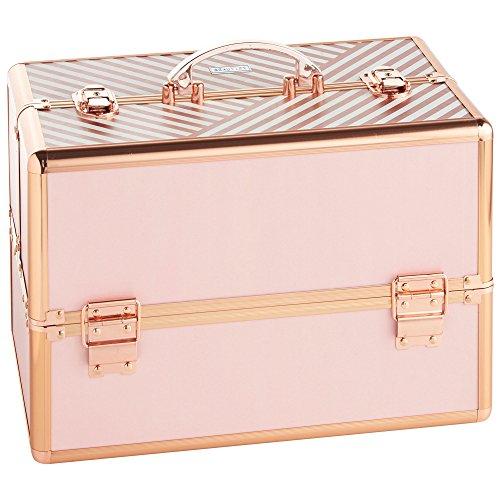 Beautify Grande Beauty Case Professionale Per Conservare Prodotti di Bellezza con Serratura - a Righe Rosa Cipria