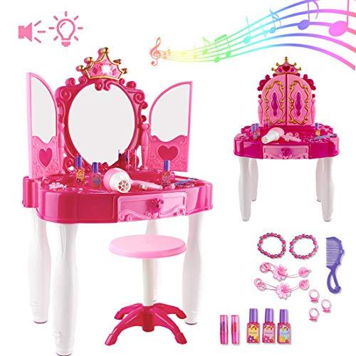 deAO Centro di Bellezza per Bambini Set Tavolino di Trucco Giocattolo con Specchio, Sgabello e Accessori Inclusi, Luci e Suoni