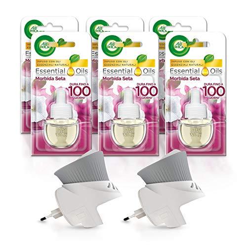 Airwick Diffusore di Oli Essenziali Elettrico, 1 Confezione con due Profumatori per Ambienti e 6 Ricariche, Fragranza Morbida Seta