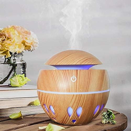 Tiamu Diffusore di Oli Essenziali, 130ml umidificatore elettrico a ultrasuoni, con venature del legno, umidificatore USB, luce a LED