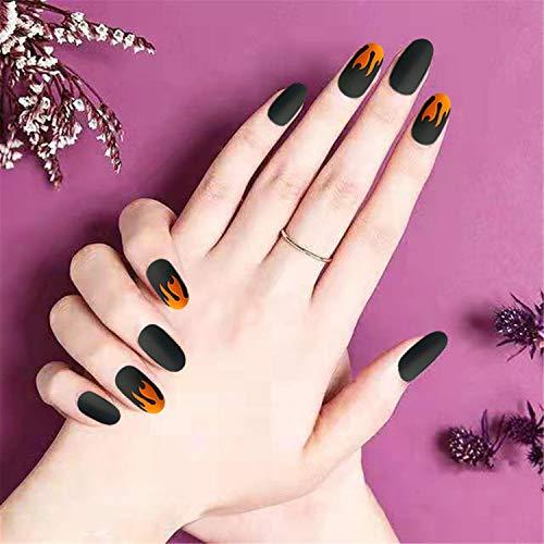 Unghie finte a forma di fiamma, per manicure, punk, punk, opaco, opaco, per nail art, 24 pezzi