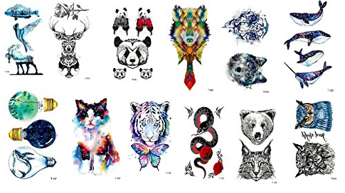 Tatuaggi a forma di balena, con cervo, motivo serpente, gufo, animali, set da 12 fogli