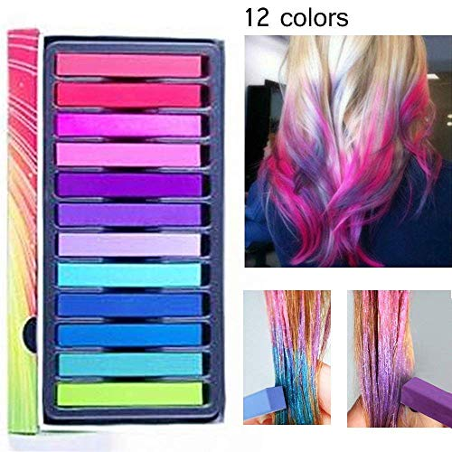 Capelli Gesso Capelli Temporanea Gesso, 12 Colore Hair Chalk Capelli Tintura Temporanea Colorato per Kid Girls party e cosplay DIY festival Dress Up funziona su tutti i colori di capelli