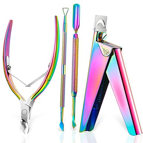 Set di forbici per cuticole con spingicuticole in acciaio inox, spingicuticole per cuticole, kit di rimozione cuticole e kit di pulizia inferiore delle unghie, spingi per manicure, pedicure
