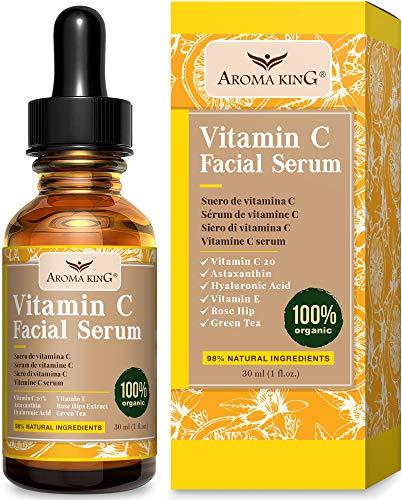 Aroma King Vitamina C Siero per il viso con acido ialuronico e vitamina E, antirughe antirughe alleggerisce e illumina le macchie scure e le cicatrici da acne, 1 fl oz