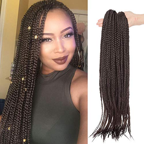 60cm-Extension Treccine Africane di Capelli Intrecciati Lunghi Braiding Hair Extension Capelli Colorati a Trecce Braids-Marrone Scuro