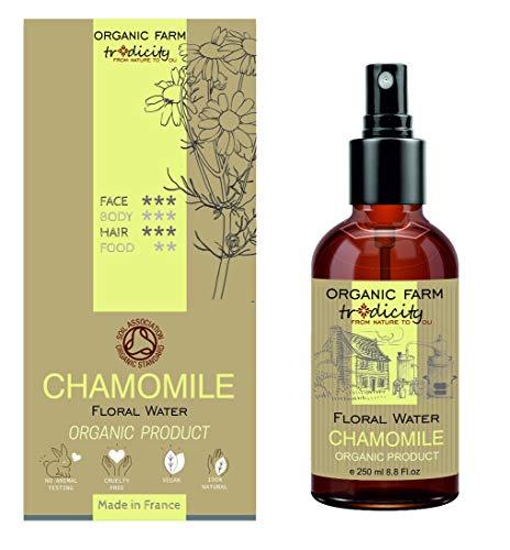 Organic Farm Spray Idratante Mist Acqua Floreale Biologica Idrolato di Camomilla Flacone in Vetro da 250 ml, Cura, Cosmetica Fai da Te, e Cucina