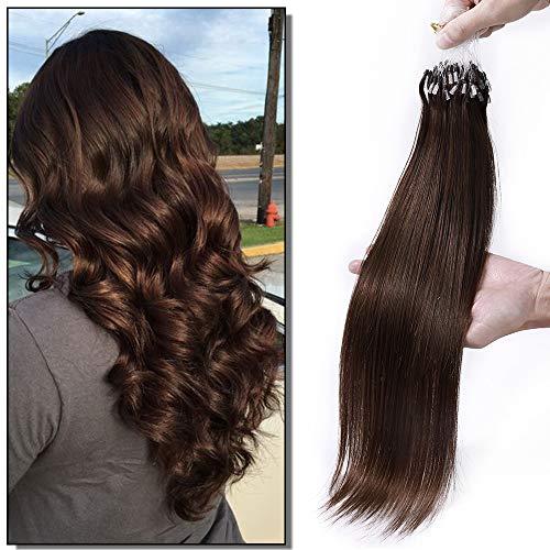 Elailite Extension Microring Capelli Veri Anelli Set da 100 Ciocche Grade 8A Remy Human Hair Umani con Anellini Allungamento Capelli 50g 45cm #4 Marrone Cioccolato