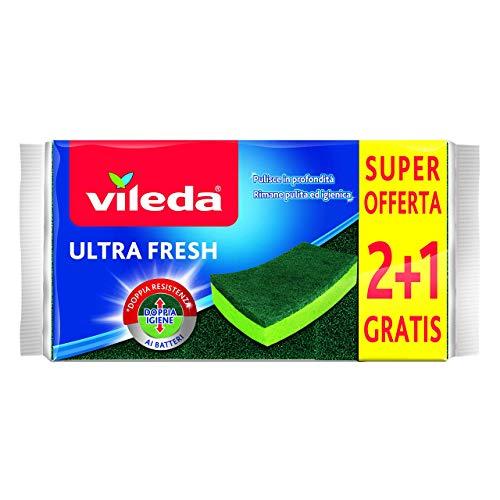 Vileda Ultra Fresh Spugna Abrasiva, Assorbente, AntiGraffio, con Parte Fibrosa, Trattamento Antibatterico, Formato 2+1, Verde