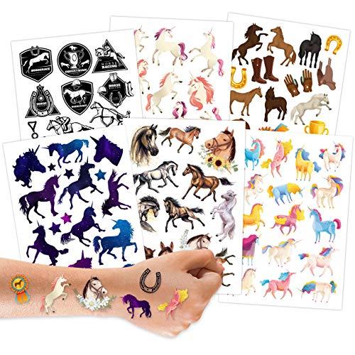 100 tatuaggi da attaccare - cavalli tatuaggi per bambini adatti alla pelle - disegni per bambini - come regalo di compleanno o idea regalo - Vegan.