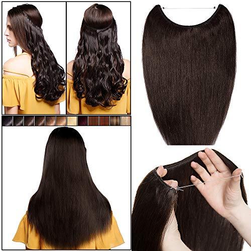 Elailite Extension Capelli Veri Filo Invisibile Wire Hair Extensions con Elastico Fascia Unica Capelli Naturali Lisci 100% Remy Human Hair No Clip 50cm 70g #2 Marrone Scuro