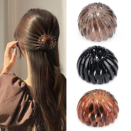 Generse - Pinza per capelli a forma di leopardo con pinza per capelli marrone espandibile, accessorio per capelli per donne e ragazze (3 pezzi)