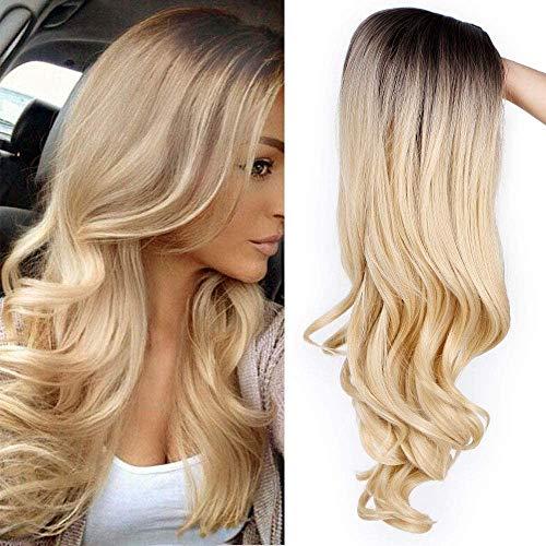 Parrucca sintetica da donna, biondo effetto ombré con radici scure, capelli lunghi e ondulati, per travestimento, festa e uso quotidiano
