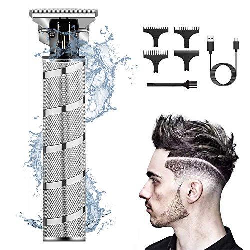 Rasoio Barba Elettrico Uomo,USB Tagliacapelli Uomo Professionale 0 mm,Con Le Lame a T,Barbiere Barba Elettrica Trimmer Impermeabile con 3 Pettini Diverse Lunghezze(Argento)