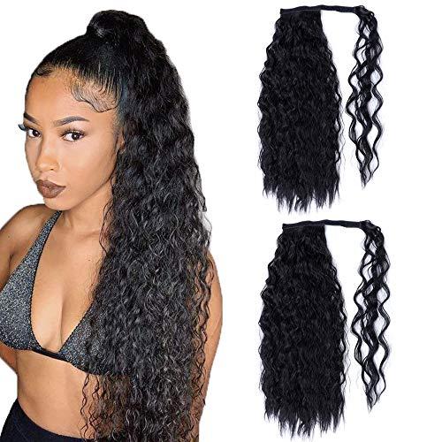 2 pezzi 24 pollici di estensione dei capelli ricci lunghi neri coda di cavallo avvolgere estensioni coda di cavallo sintetico coda di cavallo clip estensioni dei capelli parrucchino per le donne