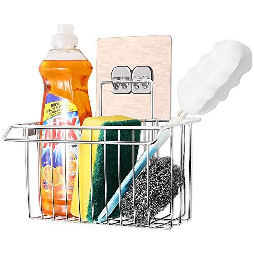 Bogeer - Organizer per lavello, per la cucina e il bagno, in acciaio inox, senza fori, porta-spugne, porta-trapano