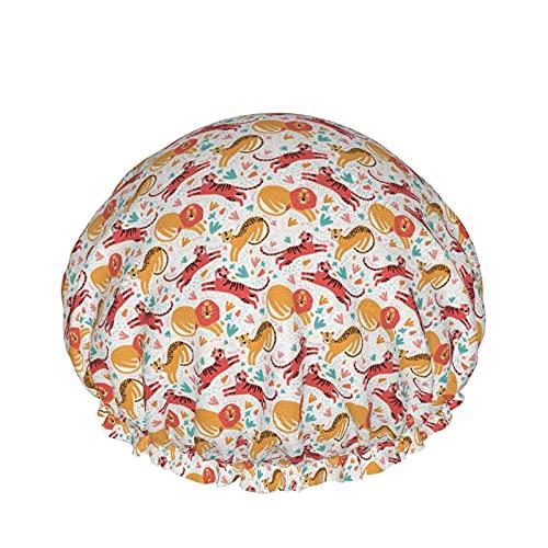 Cuffia da doccia impermeabile divertente Cartoon Tiger Unisex riutilizzabile cuffia da bagno con fascia elastica, capelli lunghi protezione dell'ambiente cappelli