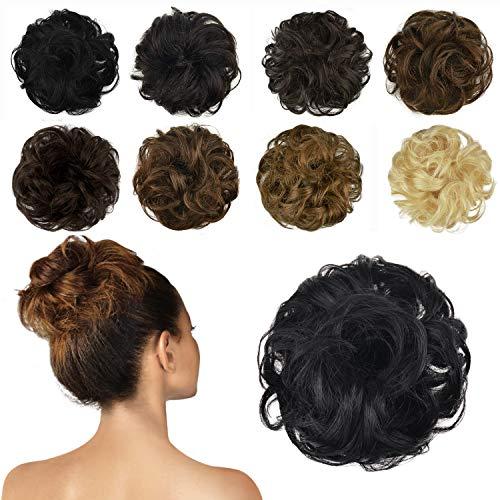 FESHFEN 100% Chignon Capelli Veri, coda capelli veri mossi ricci elastico con capelli chignon facile per capelli extension chignon da donna, 25g