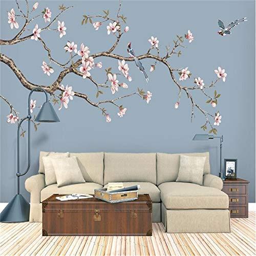 LANYU Carta da Parati Murale Personalizzato Decorativo Muro Magnolia Cinese Dipinto A Mano Fiori E Uccelli Penne Fiori E Uccelli Sfondo