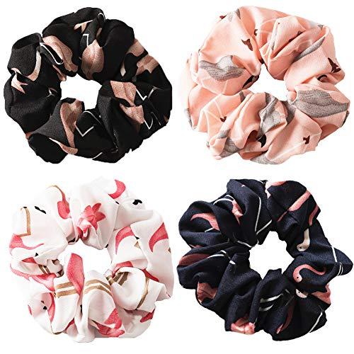 Morbidi elastici per capelli in 4 design diversi, per ragazze e donne, in chiffon, motivo con fenicotteri