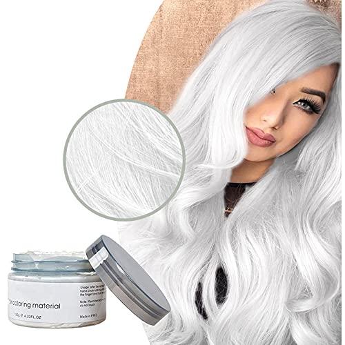Cera per capelli styling per uomini e donne Crema per capelli temporanea 9 colori crema per capelli colorante usa e getta opzionale (Bianco)