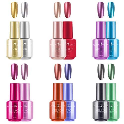 Ownest 12 Colori Nail Polish Metalli, di lunga durata Splendida lucido effetto specchio Chrome Nail Art Polish Kit-12pcs