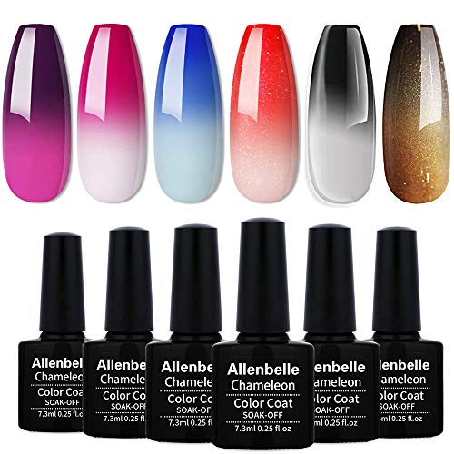 Allenbelle Smalto Semipermanente Camaleonte Nail Polish UV LED Gel Unghie (Kit di 4 pcs 7.3ML/pc) (002)