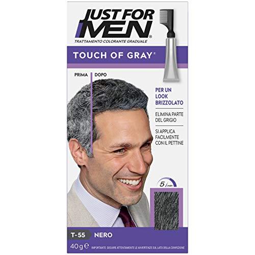 Just for Men Touch of Gray – Nero, Trattamento Colorante Graduale Per Capelli Grigi, per un look brizzolato naturale