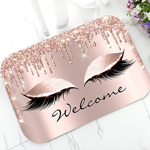 Tappeto Trendy Rose Gold Glitter Lashes CIGLIO Benvenuti Zerbino Sparkly Trucco Gomma Zerbino rug Carpet Chic casa Beauty Studio Decor zerbino (Color : Q, Size : 40cmx60cm)