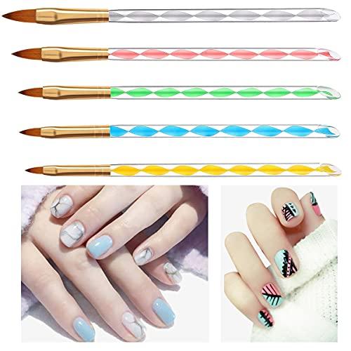 5 Pezzi di YUIP Penna a Cristallo Per Unghie a Spirale Brush Pennello per Unghie Fai Da Te Penna per Cristallo per Unghie Set di Strumenti per Nail Art