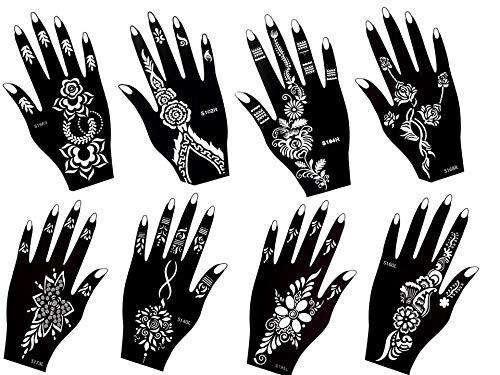 - Stencil per tatuaggi all'hennè, motivo giglio, 8 fogli