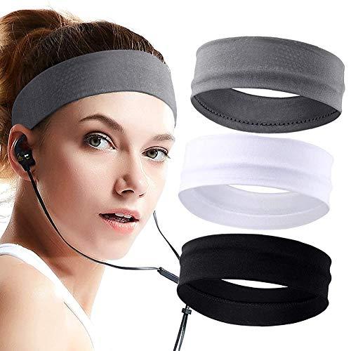 SRXWO - Fascia per capelli da donna, 3 pezzi, fascia elastica in cotone da corsa, fascia antiscivolo per capelli, fascia per il fitness, per il trucco, lo yoga, il ciclismo - nero grigio bianco