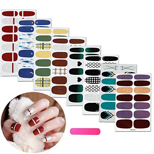 MWOOT Adesivo Smalto per Unghie 8 Fogli Copertura Completa Colorato Autoadesivo Punta Unghie Art Sticker Decalcomanie Manicure Fai da te Decorazioni Strumenti