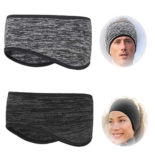 2 Pezzi Fascia Sportiva Capelli,Invernale Headband Sport,Fascia Capelli Donna Sport,Donna Uomo Fascia Elastico Sport per Yoga, Running, Sciare(Nero+Grigio)