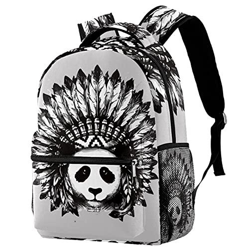 Zaino da viaggio per il tempo libero, panda carino con borse indiane per tatuaggio con portabottiglie per ragazze e ragazzi