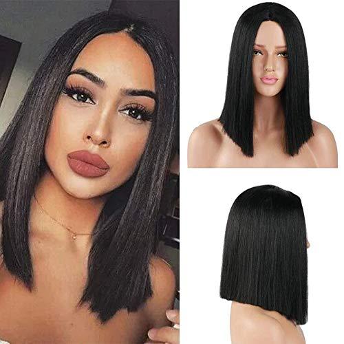 Parrucche sintetiche a capelli lisci Parrucca nera a corta parte centrale da parrucca per donna, costume da indossare ogni giorno, 14 pollici