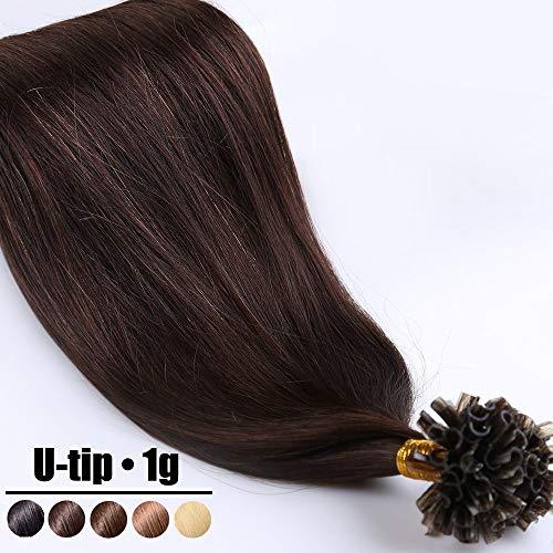 Extension Capelli Veri Cheratina Ciocche 1 Grammo/Ciocca Pre Bonded U Tip Allungamento 100% Remy Human Hair - 40cm 50g #2 Marrone Scuro