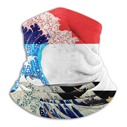 WlQshop Sciarpe,Collo Scaldacollo Yemen Flag And Wave off Kanagawa Neck Warmer Scarf Gaiter Face Mask Bandanas for Dust Cold Weather Winter Outdoors Festivals Sports for Men And Women