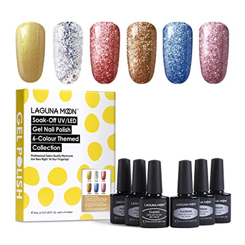 Lagunamoon Smalto in Gel UV LED, 6pcs Smalto Semipermanente per Unghie Set per Manicure - Glam on the go