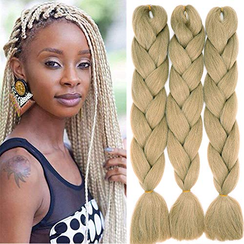 Treccine Extension Capelli Sintetici per Treccine Africane 3 Ciocche Trecce Jumbo Braiding Hair Kanekalon (Bionda naturale)