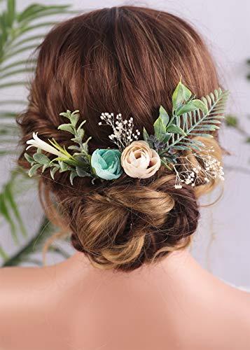 Anglacesmede - Fermagli per capelli con fiori fatti a mano, in gipsophila, magnolia, eucalipto, color crema, bocciolo verde