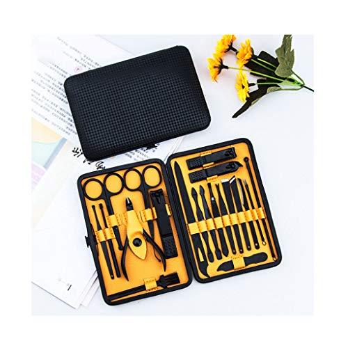 Set tagliaunghie 20Pcs Manicure Set Professional Nail Clippers Kit Pedicure Strumenti Cassa in Acciaio di Cuoio degli Uomini governare Kit PU Nero Kit Pedicure e Manicure (Color : Yellow)
