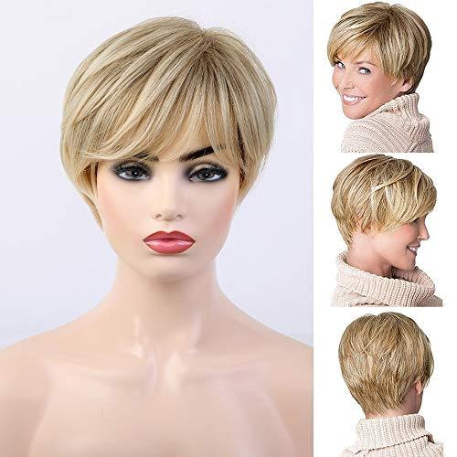 HAIRCUBE Parrucche sintetiche bionde corte per donna Parrucca taglio pixie con capelli naturali per uso quotidiano Bang