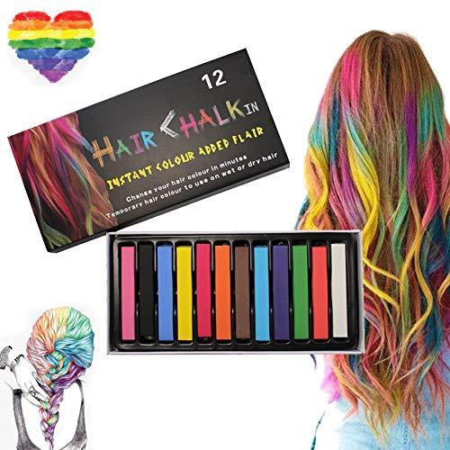 Capelli Gesso, 12 colori Tinta per capelli temporanea, per bambini e adulti - Lavabile e non tossico - Ideale per Halloween, carnevale, feste, feste