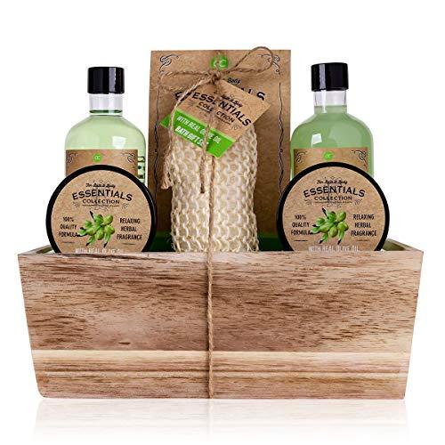 """Accentra - Set regalo """"OLIVE"""" in un cesto decorativo in legno, set da bagno, SPA e doccia, fragranza all'oliva, set regalo da 6 pezzi, ottimo regalo per compleanno o San Valentino"""