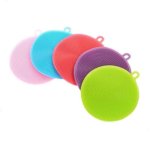 NiceButy, spazzola per lavare i piatta in silicone, spugnetta per le pulizie domestiche, antimuffa e antibatterica, confezione da 5
